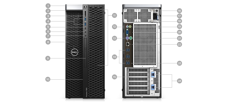 Precision 7820 Tower - Cổng & Slots